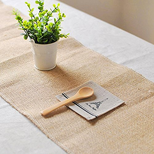 mds Pack Of 10 Wedding 12 x 108 inch Burlap Table Runner Natural jute Country Vintage For Wedding Banquet Decoration – Natural jute Burlap by mds (Image #2)