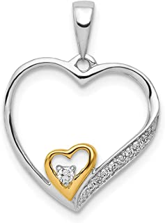 Lex & Lu 14K bianco/giallo oro diamante ciondolo LAL3712