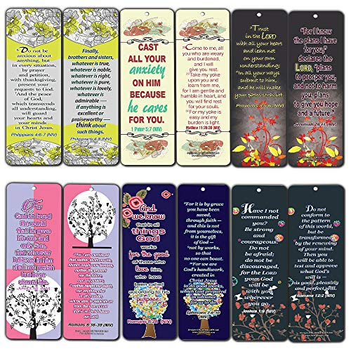 Floral Theme Memory Bible Verses Bookmarks (12-Pack)