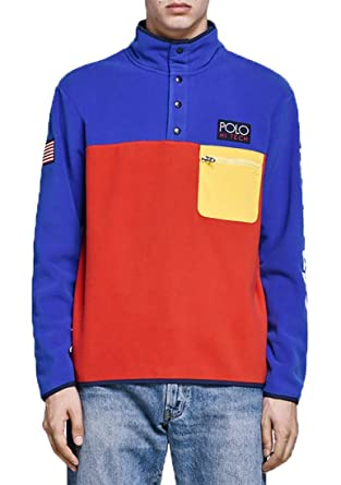 edca6e299 Polo Ralph Lauren Hi Tech Color-Blocked Pullover (Bright Royal/Red, XL) at  Amazon Men's Clothing store:
