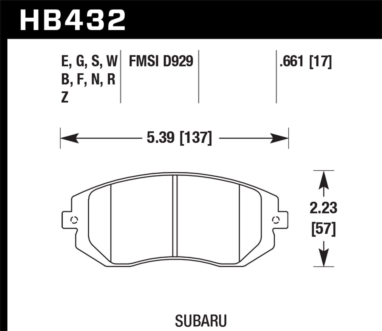 Hawk Performance HB432B.661 HPS 5.0 Disc Brake Pad