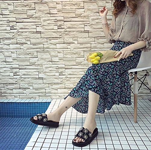 Mujer Fondo Zapatillas Cómodo weiwei Verano B Grueso Playa Zapatillas De EF1q1w