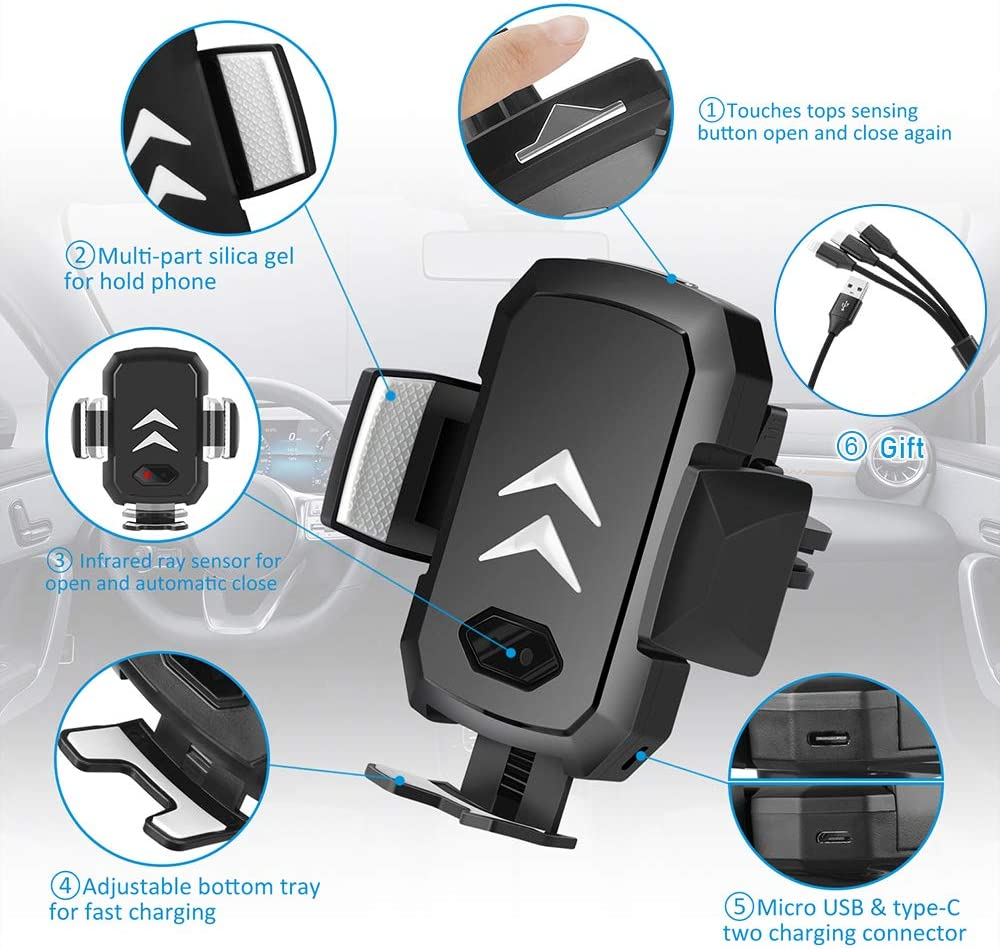 SUPOLOGY 【Wireless Car Charger 10W】 Auto Clamping Fast Charger Air Vent Compatible iPhone Xr//Xs//X//8//8 Plus,Samsung 10e//10//10 Plus,Huawei Mate 20 and All QI-Enabled Phone