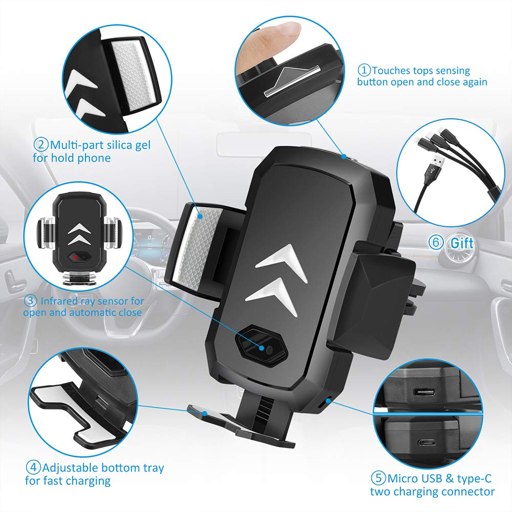 SUPOLOGY Wireless Car Charger 10W Auto Clamping Fast Charger Air Vent Compatible iPhone Xr Xs X 8 8 Plus,Samsung 10e 10 10 Plus 20 and All QI-Enabled Phone