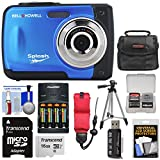 Bell & Howell Splash WP10 Shock & Waterproof Digital Camera (Blue) with 16GB Card + Batteries & Charger + Case + Tripod + Floating Strap + Reader Kit