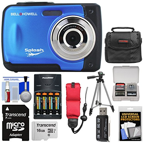 Bell & Howell Splash WP10 Shock & Waterproof Digital Camera (Blue) with 16GB Card + Batteries & Charger + Case + Tripod + Floating Strap + Reader Kit
