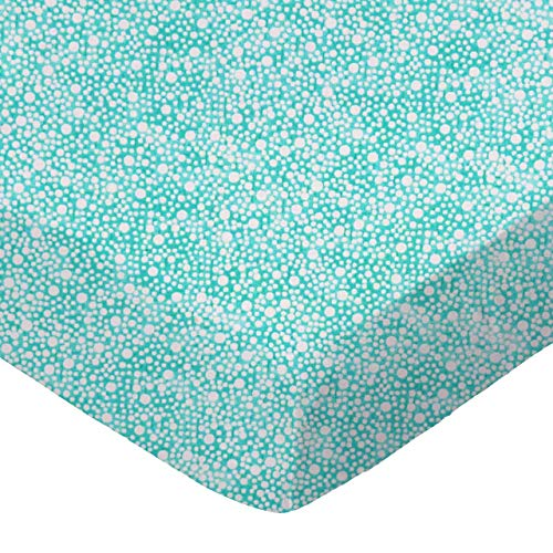 (SheetWorld Fitted 100% Cotton Percale Cradle Sheet 18 x 36, Confetti Dots Aqua, Made in USA)