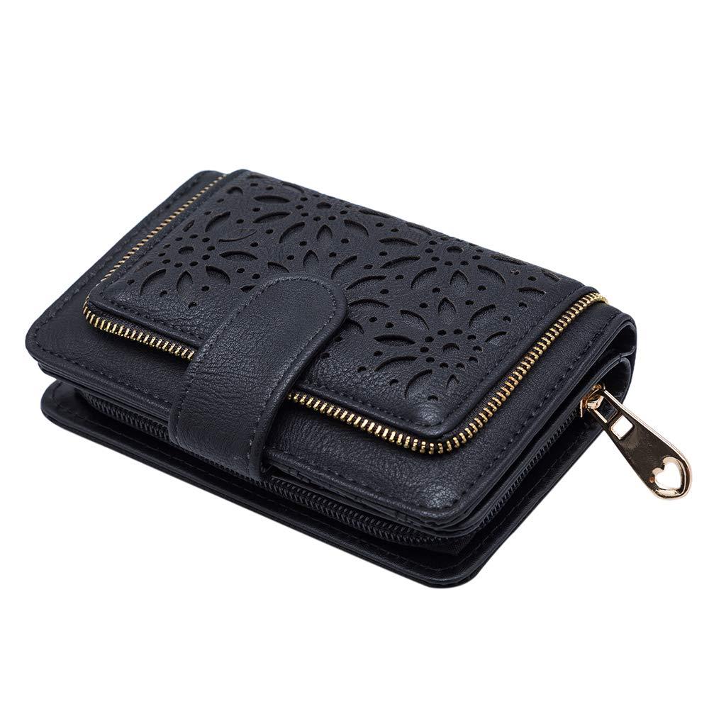 Faux Leather Vintage Hollow Bifold Wallet GLITZALL Women Short Credit Card Holder (Black)