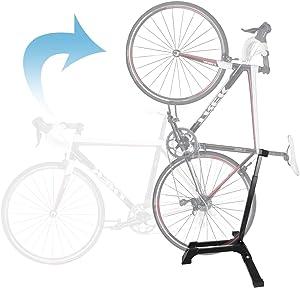 Qualward Bicycle Stand Vertical Bike Rack Floor Adjustable Upright Design, Space Saving for Living Room, Bedroom or Garage