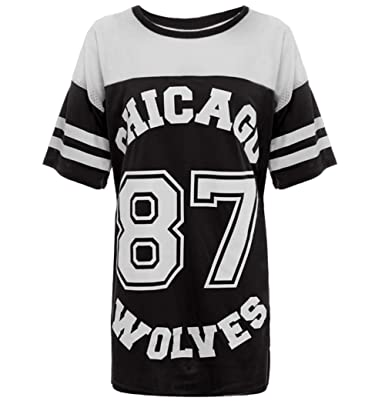 2838c0c169da9 Crazy Girls Womens American Baseball Chicago 87 Wolves Baggy T-Shirt Top  8-14