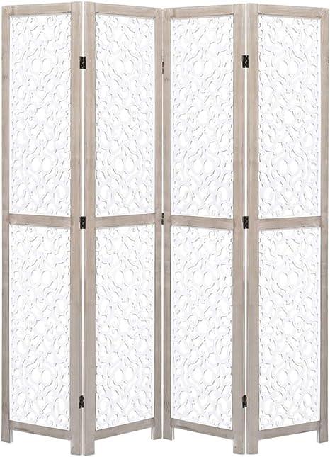 UnfadeMemory Biombo Divisor Plegable para Crear Privacidad,Biombo de Pie,Divisor para Habitación o Sala de Estar,con Diseñado Ahuecado,Estructura de Madera de Paulownia,Blanco (3 Paneles-105x165cm): Amazon.es: Hogar
