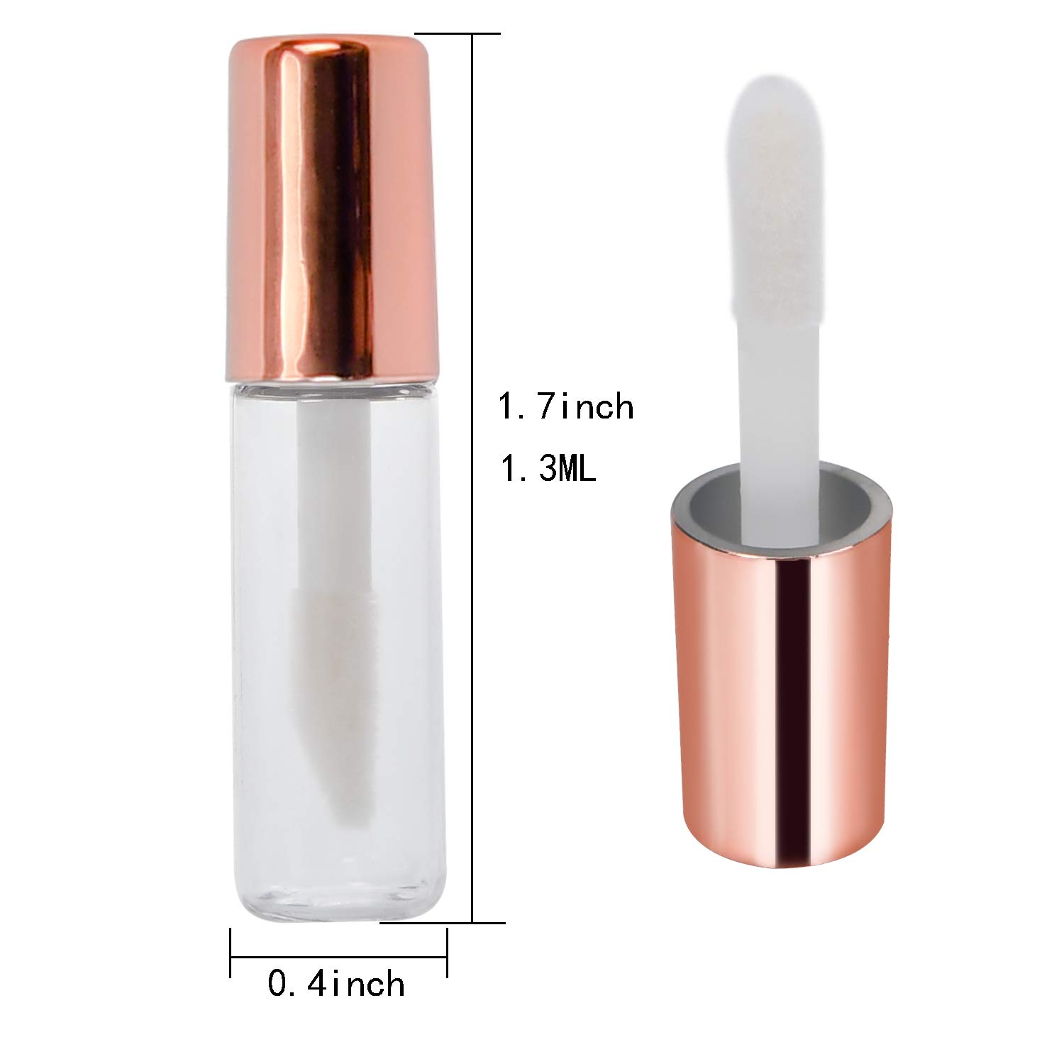 25Pcs 1.3ml Empty Lip Gloss Tubes Containers, DIY Makeup Liquid Lipstick Bottles Kit Plastic Clear Mini Lip Balm with Funnels and Transfer Pipettes Set Gold