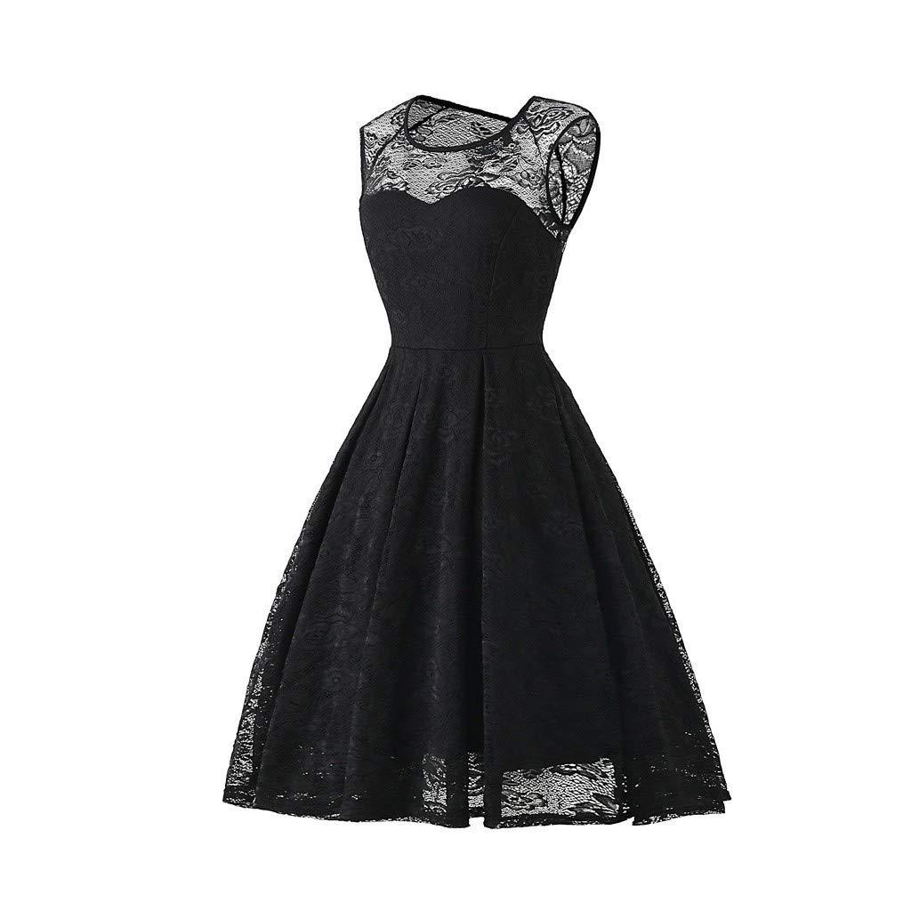 Pervobs Women Vintage 1950s Retro Rockabilly Prom Dresses Cap-Sleeve Crew Neck Elegant Formal Party Mini Dress Vestido(US:12, Black) by Pervobs Dress (Image #2)