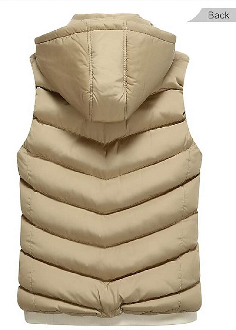 WSPLYSPJY Men Puffer Vest Removable Hooded Quilted Warm Sleeveless Jackets
