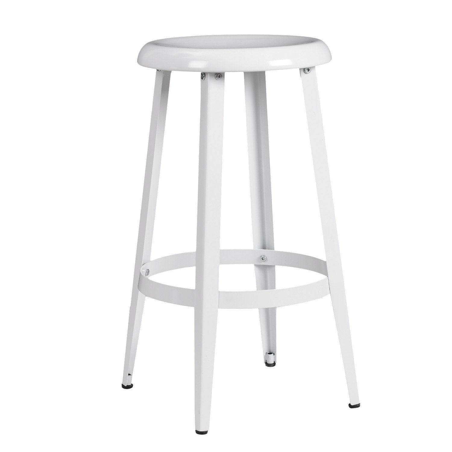 Joveco Metal Round Top Backless 26 Inch Stool White Ebay