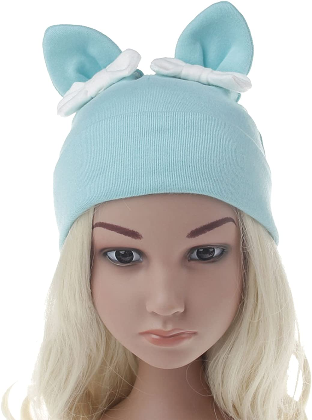 ZEHAT Solid Color Cat Ear Bowknot Baby Hat Warm Earflaps Girls Fleece Lining Cute Kids Knit Winter Warm Hat