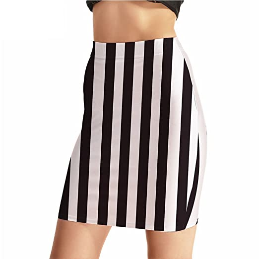 3e856f6963 Image Unavailable. Image not available for. Color: Women Summer Fashion  Black and White Vertical Striped Mini Pencil Skirt