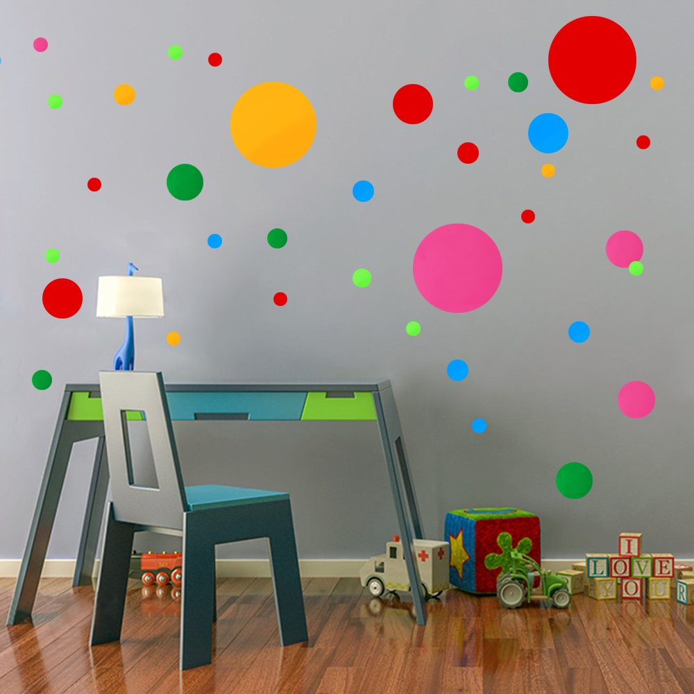 Polka Dots Wall Decals 91 pcs Cute - Colorful Round Stickers for Toddlers & Kids Bedroom,Playhouse,Nursery Decorations
