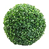 Balanced Life363 The Artificial Topiary Greenery Panels Box Wood Ball UV Protected Hanging Ornaments, Lush Green, Ball-shaped Decoration, Faux Boxwood Leaves, Reproduction, Plastic