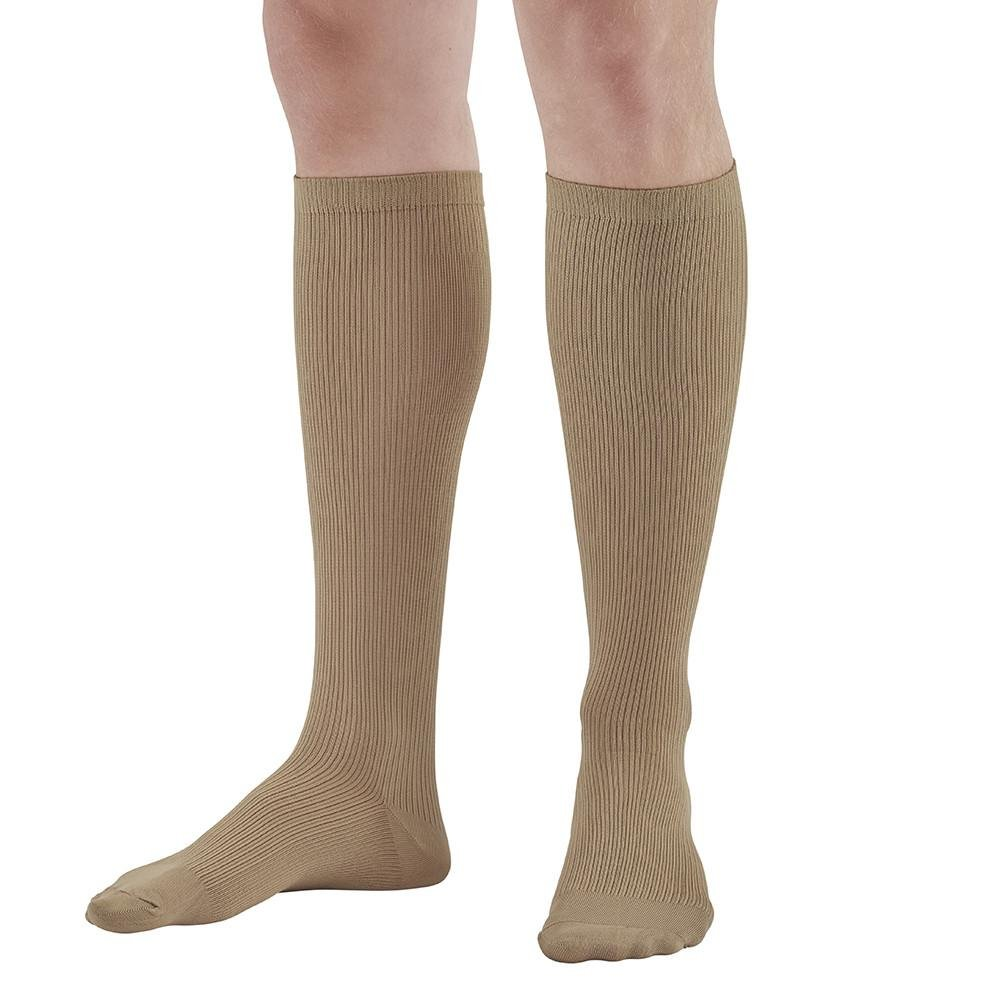 Ames Walker AW Style 166 Men's Travel 15-20mmHg Moderate Compression Knee High Socks Khaki XLarge - Gradient compression - Promote venous blood flow - Prevent leg swelling and discomfort