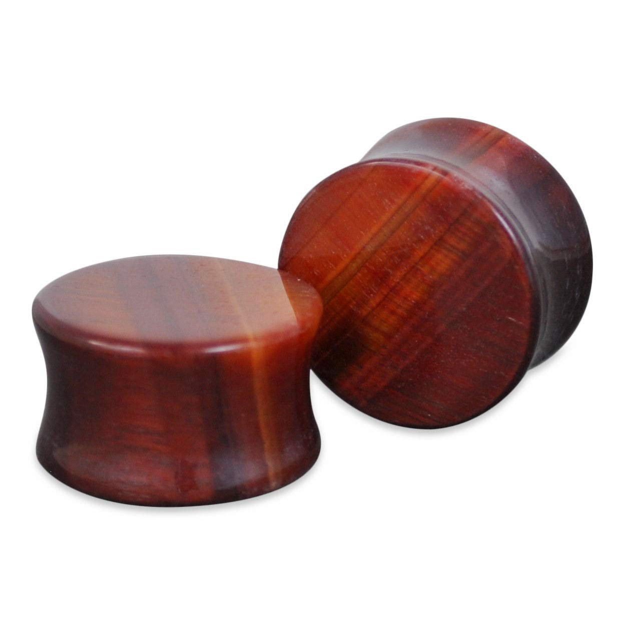 1 Pair of Genuine Red Tiger Eye Organic Natural Polished Stone Ear Plugs Saddle 05 mm