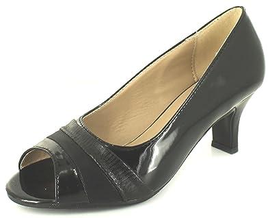 d49778b92b2 Comfort Plus Ladies Womens Black Peep Toe Wide Fit Court Shoes - Black - UK