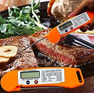 Ultra-Fast High Performance Digital Thermometer for Food/BBQ/Meat with Collapsible Internal Probe and Magnet (Orange)