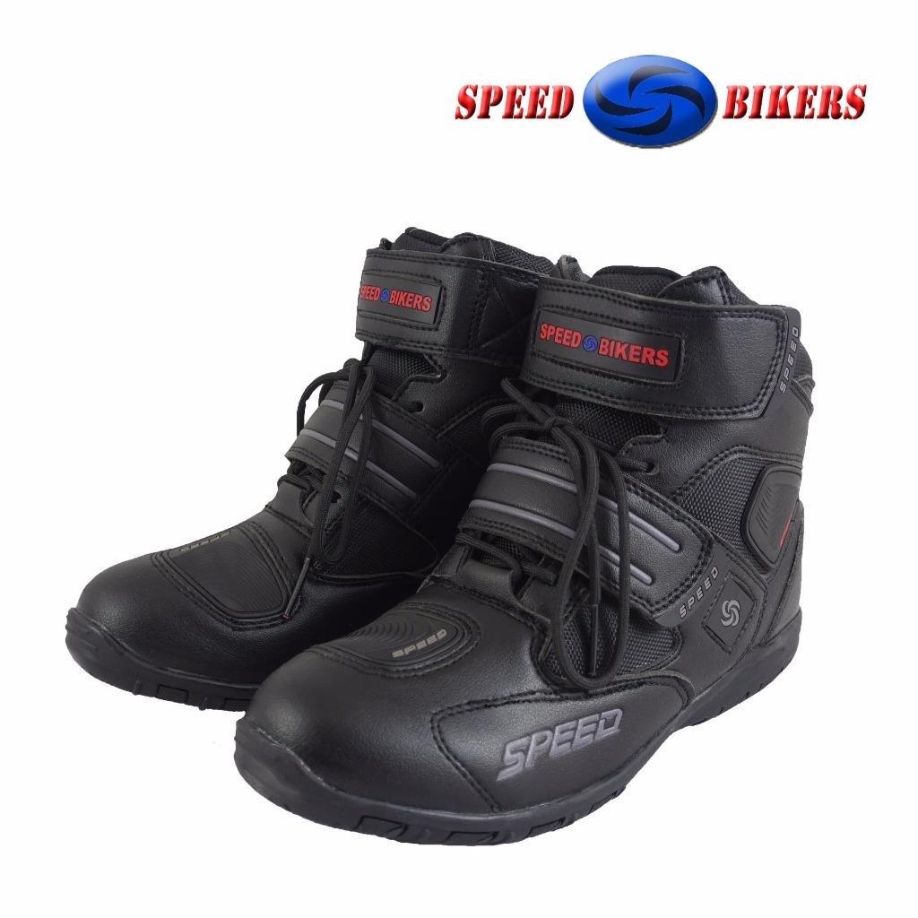 ca/ña baja Botas de motorista de cuero negro impermeable