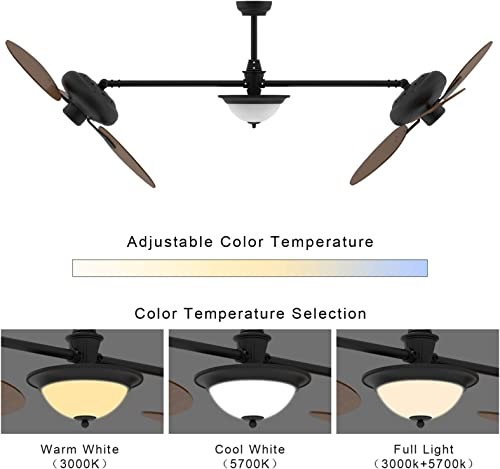 reiga 86″ Oil-rubbed Bronze Quiet Motor Dual Ceiling Fan