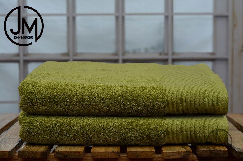 John Mercer, 2x Bath Towels, 100% Cotton 650GSM (Super Soft & Fluffy), W70 x L140cm (Yellow)