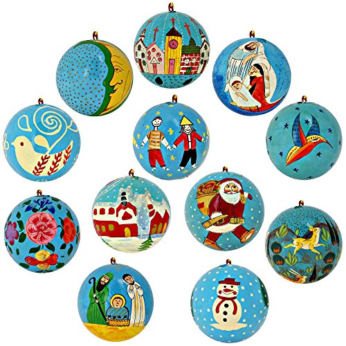 Set of 12 Turquoise Paper Mache Christmas Ornaments Handmade in Kashmir, India by ShalinIndia