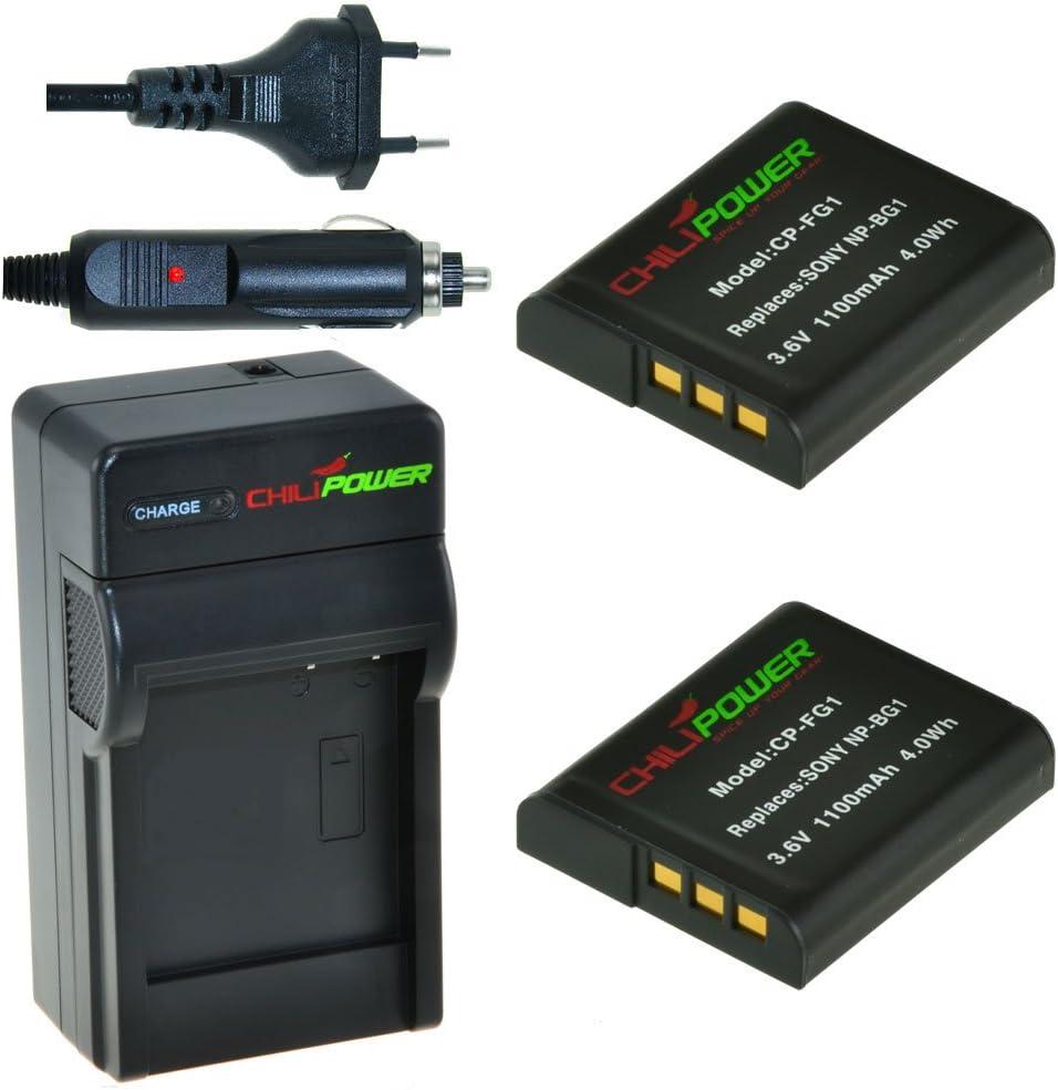 DSC-T100 1100mAh NP-FG1 DSC-H20 DSC-H3 DSC-H55 DSC-HX20V DSC-HX7V DSC-H90 DSC-H50 DSC-H70 DSC-H10 DS Bater/ía para Sony Cybershot DSC-HX5V DSC-N1 DSC-HX10V DSC-N2 ChiliPower 2-Pack NP-BG1 DSC-H9 DSC-T20 DSC-HX30V DSC-H7 DSC-HX9V