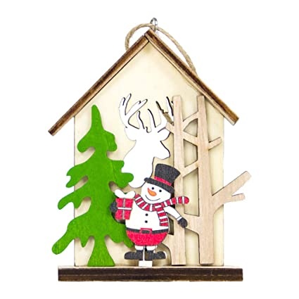 1pc Christmas Sled Wooden Pendants Ornaments Santa Claus Snowman Xmas Tree Ornament For Home Christmas Party Decorations Diamond