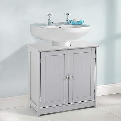 Bathroom Under Sink Storage | Taylor Brown Grey Wooden Bathroom Under The Sink Cabinet Storage