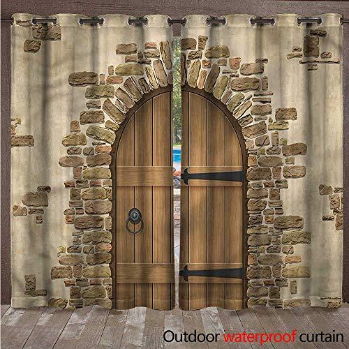 cobeDecor Rustic Outdoor Ultraviolet Protective Curtains Wine Cellar Architecture W96 x L108(245cm x 274cm) ()