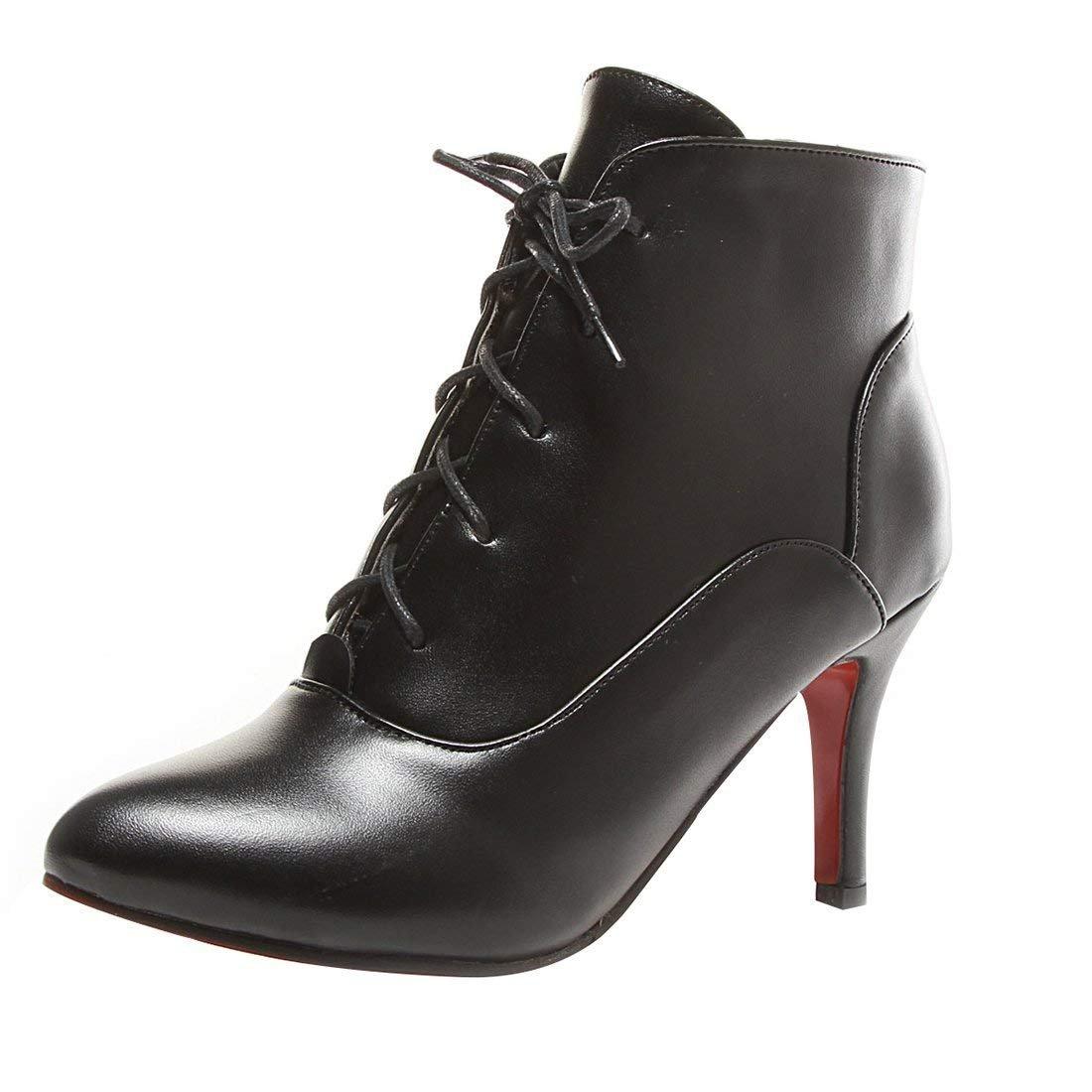 YE Ankle Boots Bottine Bout Botte Courte Femme 19526 B079TQ9YK7 Bout Pointu Lacet Talon Haut Aiguille Chaussure Hiver Noir 0c20852 - latesttechnology.space