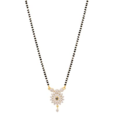 Efulgenz Jewellery Ethnic Traditional Gold Plated American Diamond Mangalsutra Pendant Necklace With Chain For Women And Girls