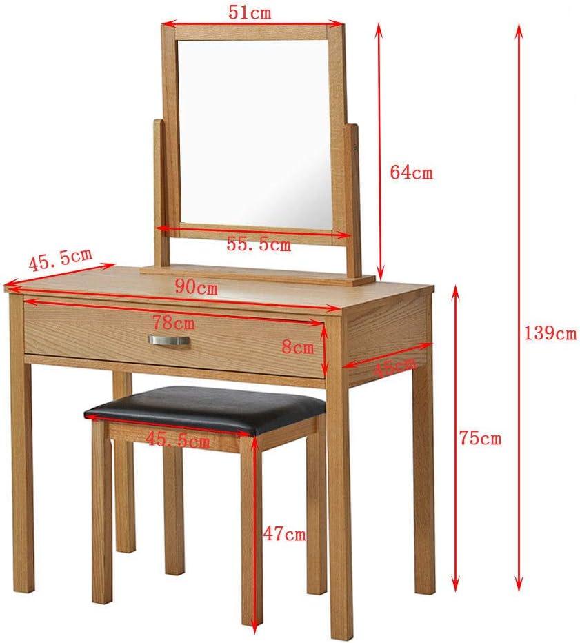 Generic Ensemble de Table en Similicuir pour Chambre /à Coucher avec Miroir r/églable en ch/êne