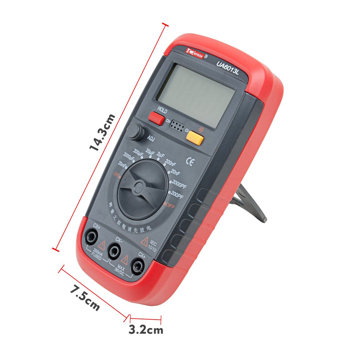 20000uF with LCD Backlight Max 1999 Display w Data Hold Function UA6013L a15062600ux0214 DMiotech Multimeter Digital Capacitance Meter Capacitor Pro Tester 0.1pF
