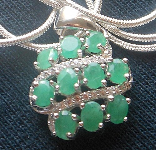 Natural Unheated/Untreated Emerald Cubic Zirconia Gemstone 14K White Gold Over Sterling Silver Pendant Necklace 22""