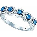 1/2 Carat (ctw) 10K White Gold Blue & White Round Diamond Ladies Swirl Cocktail Right Hand Ring 1/2 CT