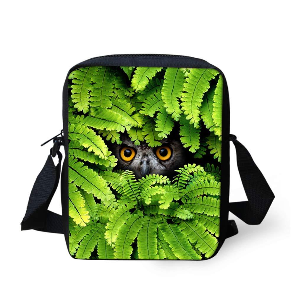 UNICEU Outdoor Travel Hiking Messenger Bags Small Lightweight Portable Sling Cross-Body Bag Green Leaf Owl Pattern Satchel