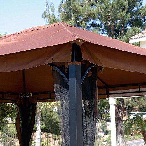 XtremepowerUS 10' x 12' Metal Patio Gazebo Canopy Opt W/ Mosquito Flys Net