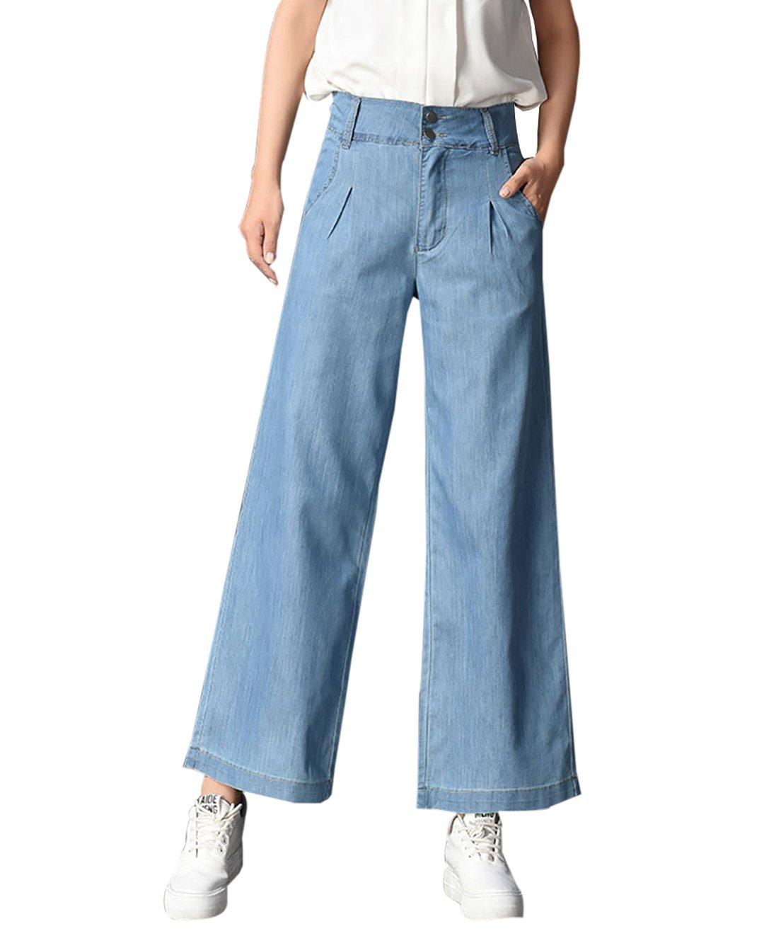Yimoon Women's Summer Lightweight Tencel Denim Casual Wide Leg Palazzo Long Pant Loose Jeans (Light Blue, Small)