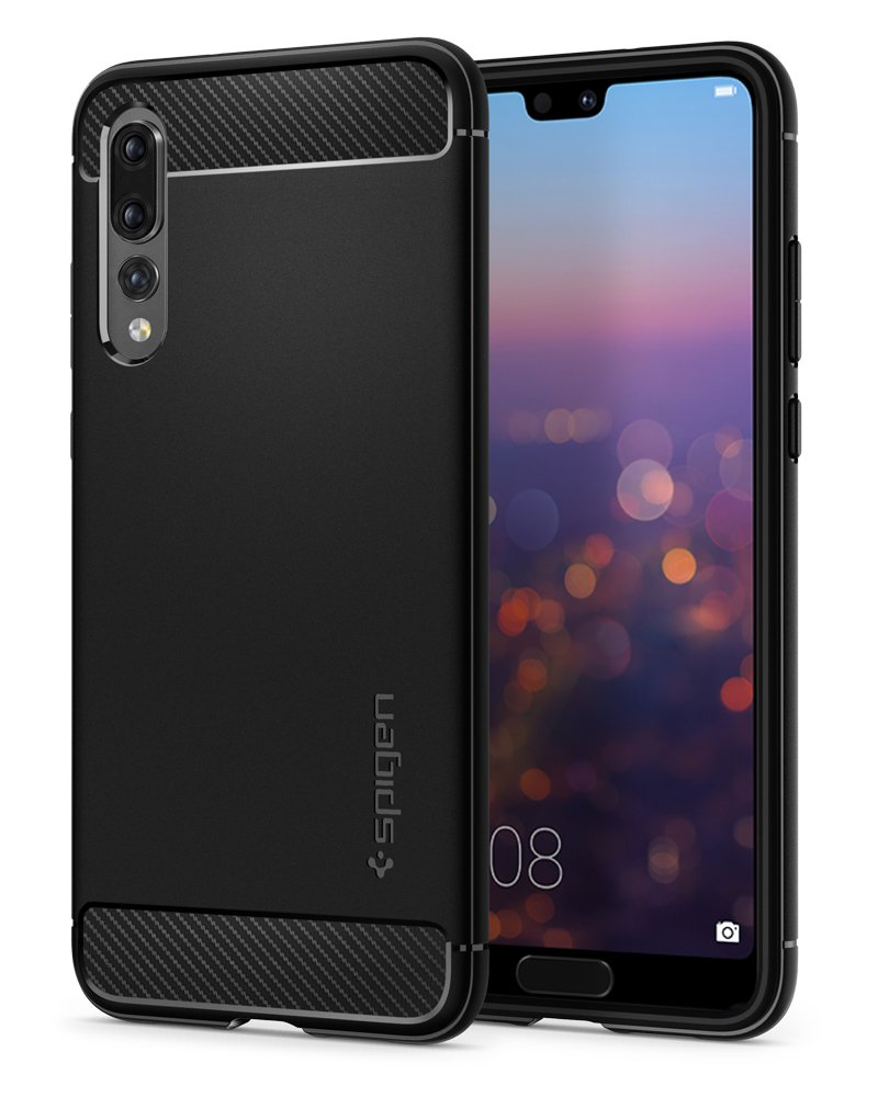 Spigen Rugged Armor HUAWEI P20 Pro Case with Flexible and Durable Shock Absorption with Carbon Fiber Design for HUAWEI P20 Pro (2018) - Black