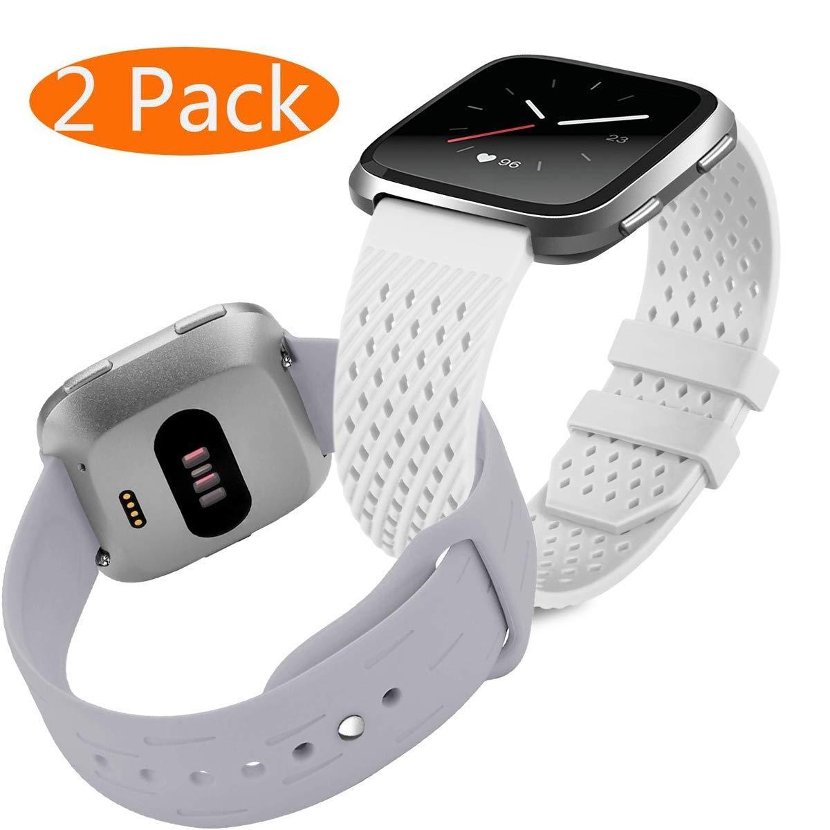 mtozon用シリコンバンドFitbit Versa、ソフト通気性ストラップ交換用アクセサリーフィットネススポーツリストバンド、Versaバンドレディースメンズ B07FRKMFTJ 02#White+Gray 5.5\