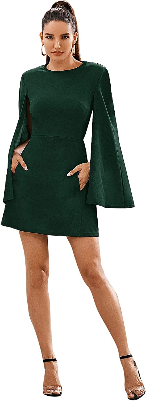 SheIn Women's Elegant Cloak Sleeve Mini Cape Dress Plain with Pocket