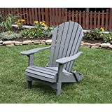DARK GRAY-POLY LUMBER Folding Adirondack Chair with Rolled Seating Heavy Duty EVERLASTING Lifetime PolyTuf & Amazon.com: Grey - Adirondack Chairs / Chairs: Patio Lawn u0026 Garden