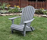 DARK GRAY-POLY LUMBER Folding Adirondack Chair with Rolled Seating Heavy Duty EVERLASTING Lifetime PolyTuf HDPE - MADE IN USA - AMISH CRAFTED