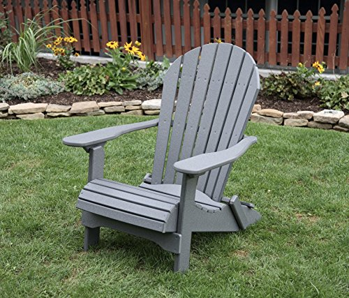 Ecommersify Inc Dark Gray-Poly Lumber Folding Adirondack Chair with Rolled Seating Heavy Duty Everlasting Lifetime PolyTuf HDPE - Made in USA - Amish Crafted (Adirondack Chairs Plastic Gray)